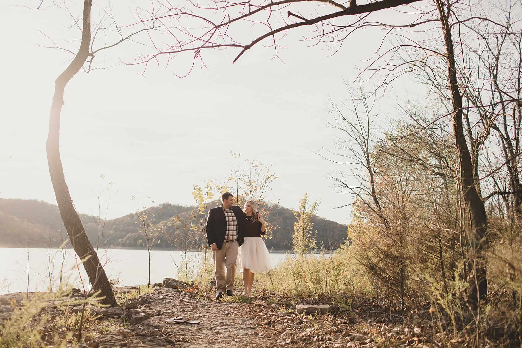 Whitney & Josh - Crisp Fall  Lake Engagement Session at Edgar Evins State Park, Tennessee